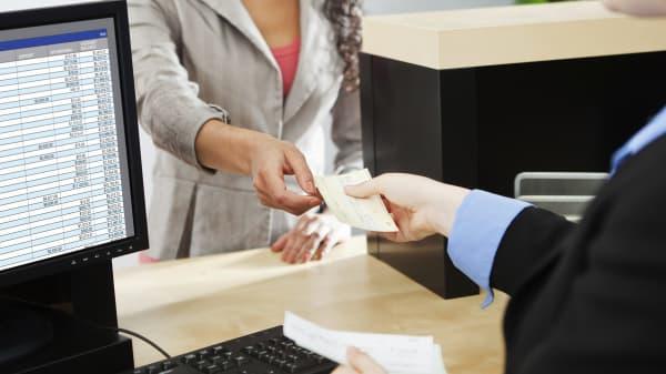 Bank customer teller transaction