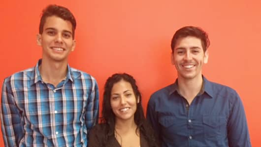 Cuban interns Gabriel Garcia, Gabriela Rodriguez and Raul Perera (left to right) are participating in a NYC-based tech accelerator program.