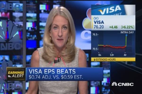 Visa's bottom line beat