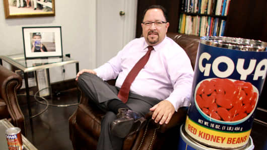 Goya Foods President and CEO Bob Unanue poses for a portrait in his office in Secaucus, N.J.