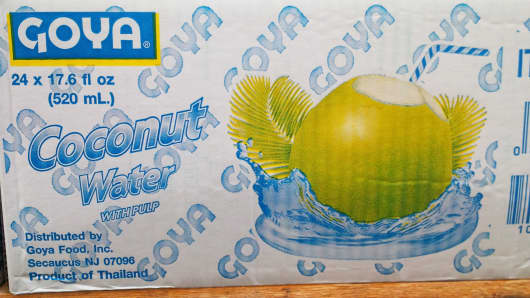 Box of Goya coconut water