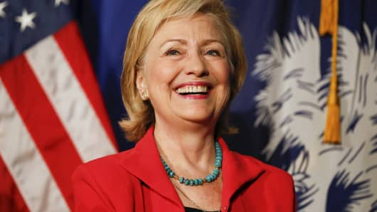 Democratic presidential candidate Hillary Clinton smiles as she is introduced during a campaign event in West Columbia, South Carolina July 23, 2015.