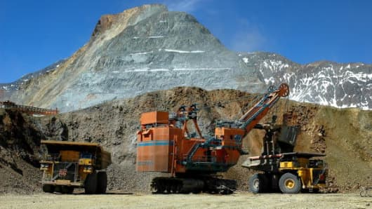 Heavy equipment is used used to mine copper at the Anglo American PLC Los Bronces (Minera Sur Andes) copper mine in central Chile,