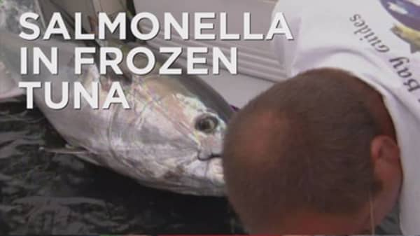 Salmonella found in raw tuna