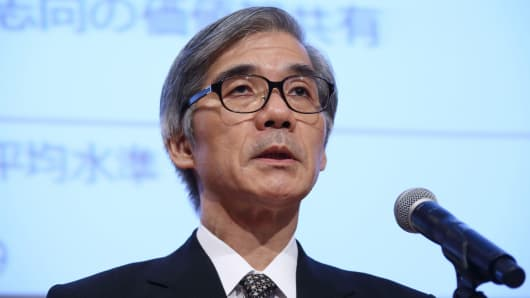 Hiroaki Tonooka, deputy president of Meiji Yasuda Life Insurance Co., speaks during a news conference in Tokyo, July 24, 2015, announcing plans to buy StanCorp Financial Group.
