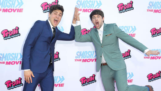 """YouTube personalities Anthony Padilla, left, and Ian Hecox, better known as Smosh, attend the premiere of """"Smosh: The Movie"""" in Westwood, Calif., July 22, 2015."""