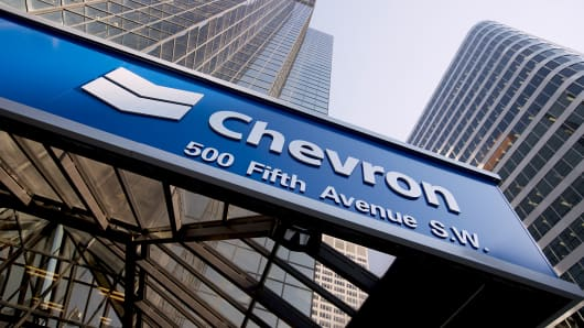 The Chevron logo is shown at Chevron Plaza in Calgary, Alberta.