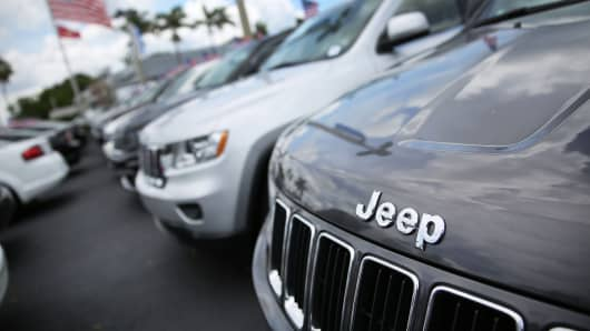 A Fiat Chrysler Jeep Grand Cherokee is seen at a dealership.