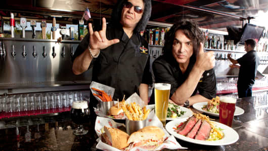 Gene Simmons and Paul Stanley, Kiss band members and co-founding partners or Rock & Brew.