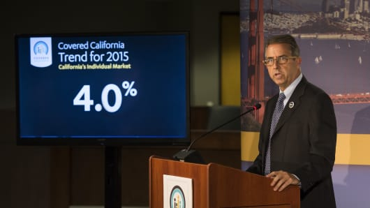 Covered California Executive Director Peter V. Lee announced that the statewide weighted average health insurance rate increase will be 4 percent, lower than last year, during a press conference at its headquarters in Sacramento on Monday, July 27, 2015.