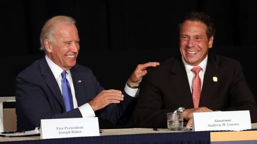 Vice President Joe Biden (L) appears with New York Gov. Andrew Cuomo to unveil plans for new area infrastructure projects on July 27, 2015 in New York City.
