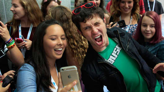 Toby Turner interacts with fans at VidCon in Anaheim, Calif., last week.