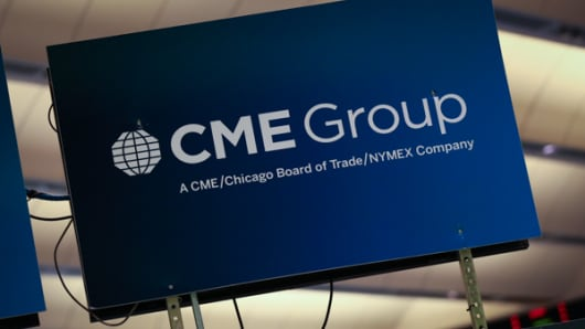 CME Group sign at NYMEX in New York.