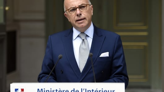 French Interior Minister Bernard Cazeneuve gives a press statement on the situation of migrants in Calais.