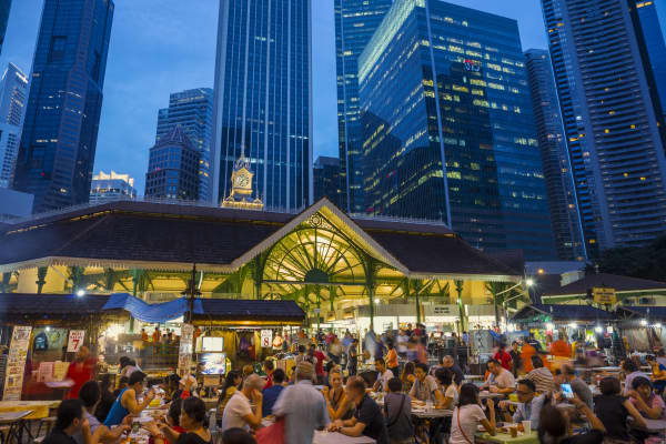 Lau Pa Sat Food Center in the Central Business District of Singapore.