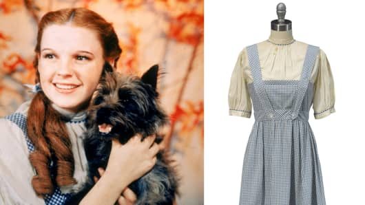 "Judy Garland in ""The Wizard of Oz"" and Dorothy's on-screen dress"