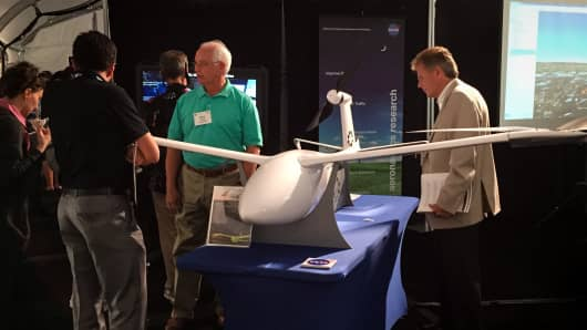 A drone on display at the NASA UTM drone exhibit in Mountain View, California.