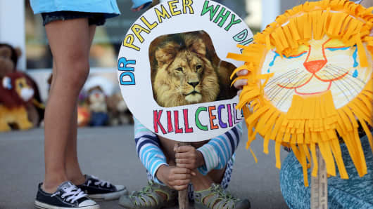 Piper Hoppe, 10, from Minnetonka, Minnesota, holds a sign at the doorway of River Bluff Dental in Bloomington, Minnesota, on July 29, 2015, during a protest against Cecil's killing.