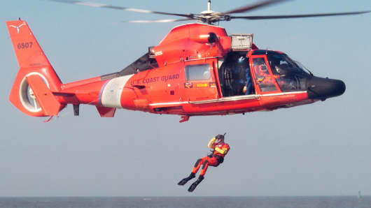 U.S. Coast Guard rescue swimmers at work.