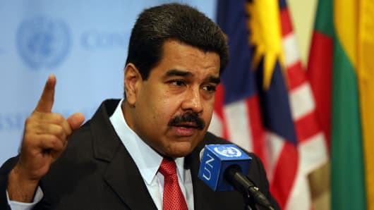 Venezuelan President Nicolas Maduro speaks to the media following a meeting with UN chief Ban Ki-moon at the United Nations headquarters in New York on July 28, 2015