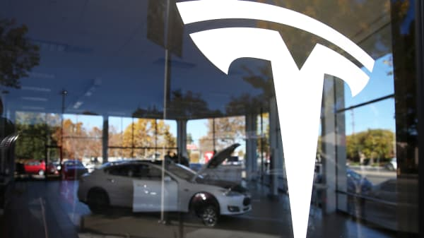 A Tesla Model S is displayed at a Tesla showroom in Palo Alto, California.