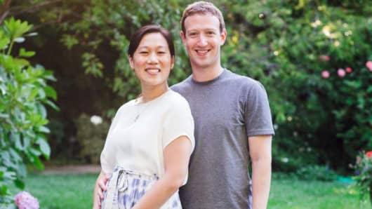 Priscilla and Mark Zuckerberg.