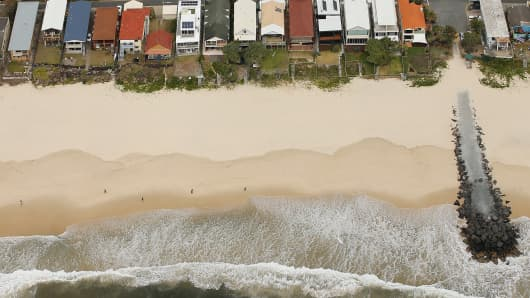 Beachfront houses on the Gold Coast, Australia.