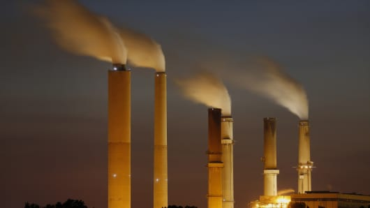 Emissions rise from Duke Energy's Gibson Station power plant in Owensville, Ind.
