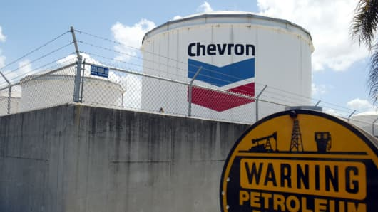 A Chevron petroleum storage tank is seen at Port Everglades in Fort Lauderdale, Florida.