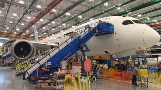 Inside the Boeing manufacturing plant in Charleston, S.C.
