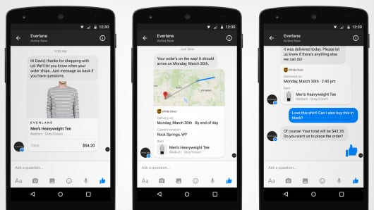 Messenger for Business screens