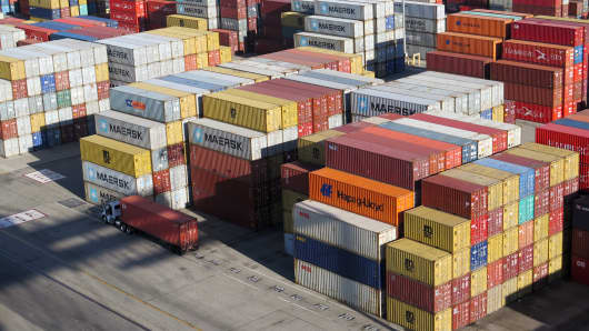 Shipping containers at the Port of Long Beach, Calif.