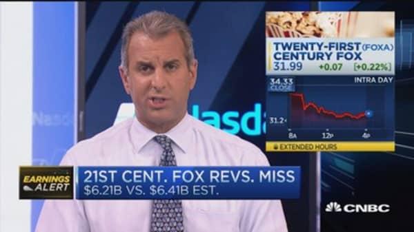 21st Century Fox reports revenue miss