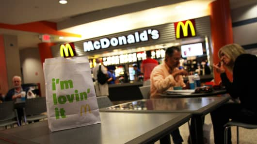 Customers at a McDonald's restaurant