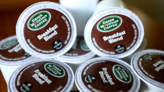 Keurig Green Mountain K-Cup coffee packs.
