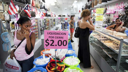 People shop in a store in San Juan, Puerto Rico.