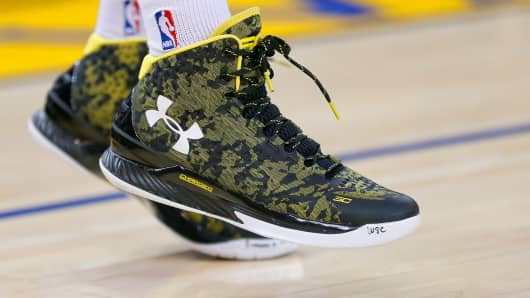 'The Curry One' shoe worn by Stephen Curry of the Golden State Warriors.