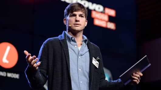 Actor Ashton Kutcher named Lenovo product engineer and launches Yoga Tablet at YouTube Space LA on October 29, 2013 in Los Angeles, California.