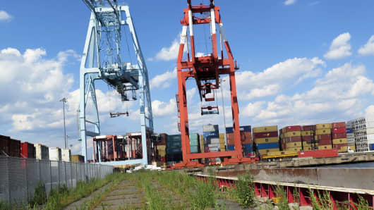 Cranes and shipping containers at the Port of Newark, New Jersey.