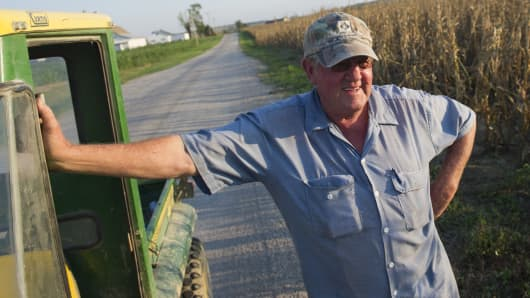 A farmer looks over his crops near Oakland City, Indiana. (file photo).