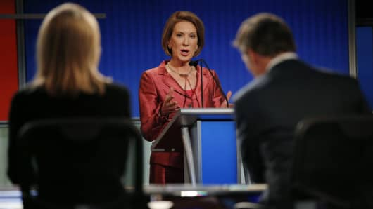 Republican presidential candidate and former Hewlett-Packard CEO Carly Fiorina responds to a question at a Fox-sponsored forum for lower polling candidates held before the first official Republican presidential candidates debate of the 2016 U.S. presidential campaign in Cleveland, Ohio, August 6, 2015.