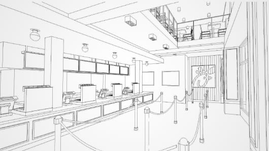 Design sketch for a new Chick-Fil-A in Manhattan at 37th and 6th.