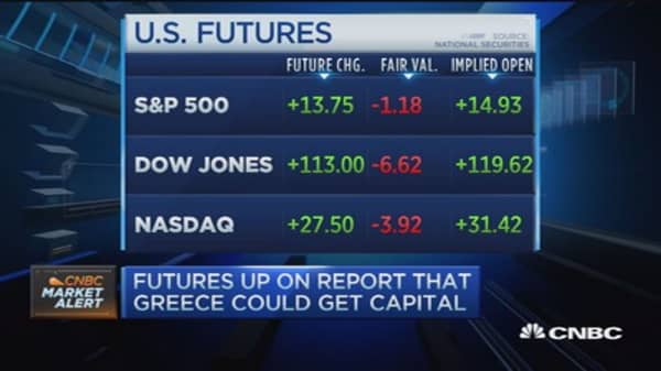 Futures up on report Greece could get capital
