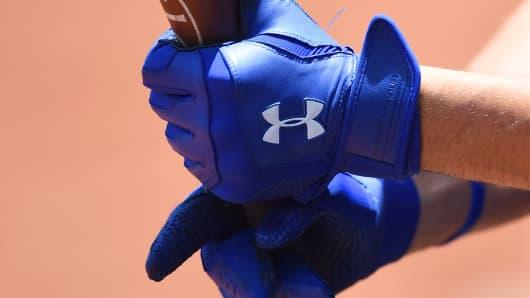Under Armour logo on batting gloves