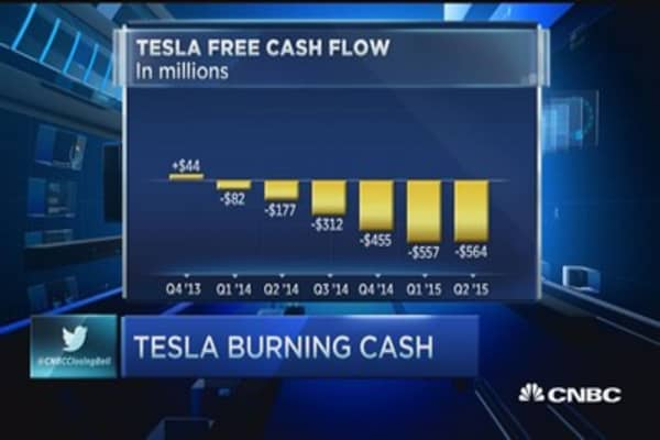 Tesla burning cash