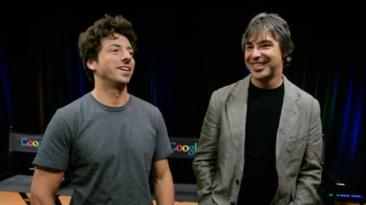 Google co-founders Sergey Brin, left, and Larry Page in a 2008 file photo.