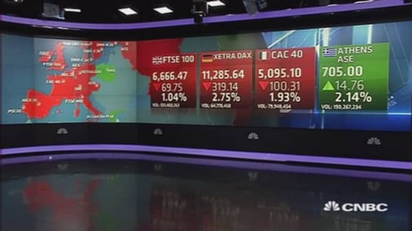 Europe ends sharply lower; post China's currency move