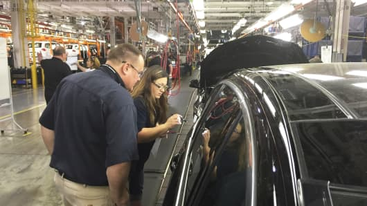 Mercedes benz R Class being built at the AM General assembly plant in Mishawaka, Indiana.