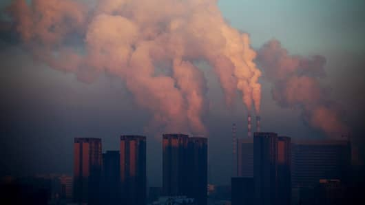 A thermal power plant discharging heavy smog into the air in Changchun, northeast China's Jilin province.