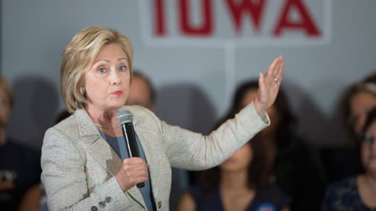 Democratic presidential hopeful and former Secretary of State Hillary Clinton speaks to guests gathered for a campaign event at Iowa State University on July 26, 2015 in Ames, Iowa.